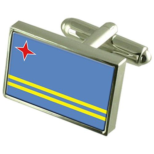 Aruba Sterling Silber Manschettenknöpfe Flagge im Feld Persönliche Gravur (Herren Aruba Kurze)