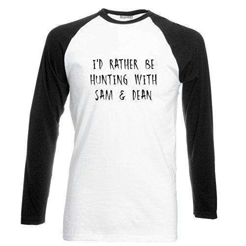 Brand88 - I'd Rather Be Hunting With Sam & Dean, Langarm Baseball T-Shirt Weiss & Schwarz