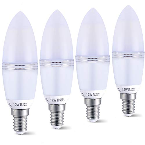 Bombillas de vela LED Yiun E14, Bombillas de candelabro LED 12W Equivalente de 100 vatios, 1200lm, Bombillas de luz LED de luz diurna 6000K, CRI></noscript> 80+, Vela decorativa E14, Lámpara LED no regulable, Paquete de 4