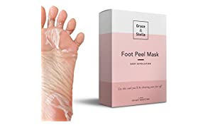 Grace & Stella Foot Exfoliation Peeling Mask | Deep Exfoliating Dry Dead Skin Treatment, Peel & Repair Rough Heels, Callus Remover, Odor Eliminator, Soak Socks Spa Booties (1 Pair, Original)