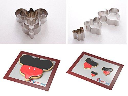 EUROTINS Mickey Mouse Forme Acier Cookie gâteau Cutter 2,5 cm Deep Lot de 3 boîtes - en Euro