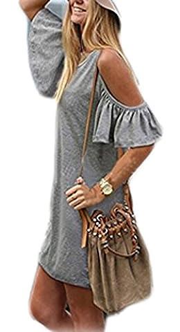 cooshional Damen sommerkleider kurz Schulterfrei Kurzarm Party Clubwear Kleid Partykleid