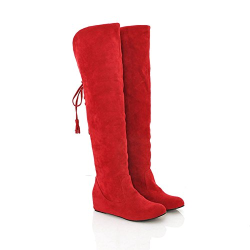 QIANGDA Donne Inverno Stivali Al Ginocchio Le Signore Scarpe Da Neve Punta Per Vestito Casual, 5 Colori Opzionale ( Colore : Rosso , dimensioni : EU34= UK1.5 ) Rosso