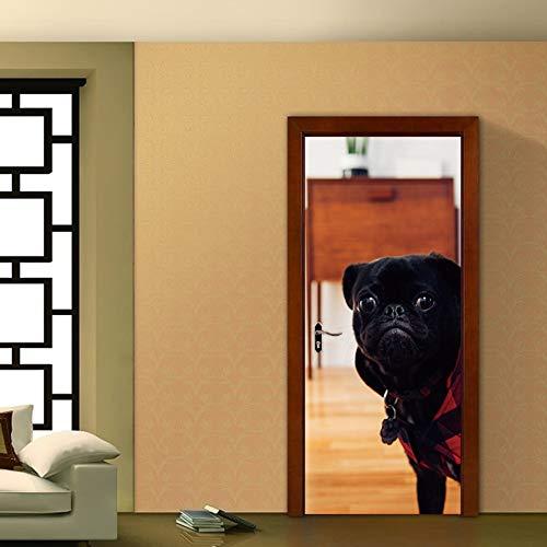 Preisvergleich Produktbild 3D Wandaufkleber Niedlichen Welpen Türaufkleber Wandbild Wohnzimmer Dekoration Pvc Selbstklebende Diy Wasserdichte Tapete Tür Abziehbilder 77X200 Cm