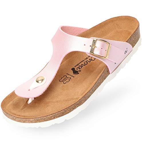 BOnova Damen Zehen-Trenner Ibiza in 14 Farben, stylische Pantolette mit Kork-Fußbett - Sandalen zum Wohlfühlen - hergestellt in der EU Light-Rose metallic 38 -