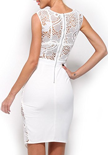 mywy - Abito donna pizzo elegante vestito cerimonia vestitino festa tubino asimmetrico Bianco