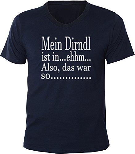 Mister Merchandise Herren Men V-Ausschnitt T-Shirt Mein Dirndl ist-Ehhm Tee Shirt Neck bedruckt Navy