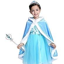 0e5fc77b1 Vicloon - Disfraz de Princesa Elsa Capa Disfraces Belle Vestido y Accesorios  para Niñas