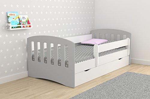 Alcube Kinderbett ab 2 Jahre aus MDF bis 120 Kg mit Matratze und Bettkasten Typ Klassisch1 140 x 80 cm Kopfteil Grau