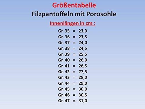 GIBRA Deutsche Filzpantoffeln mit Porosohle (feste Sohle), blau kariert, Gr.35-47 Blau-Kariert