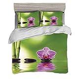 Set copripiumino (200 x 200 cm) con 2 federe Decor Spa Biancheria da letto con stampa digitale Mazzo lilla esotico di decorazione floreale di feste di estate di decorazione floreale Easy Care Anti-All