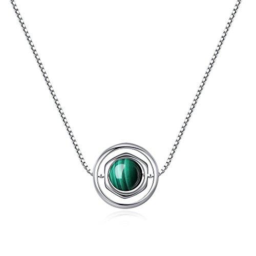 COAI Geschenkideen Glückskette aus Edelstein Malachit Box-Chain-Kette für Damen und Herren