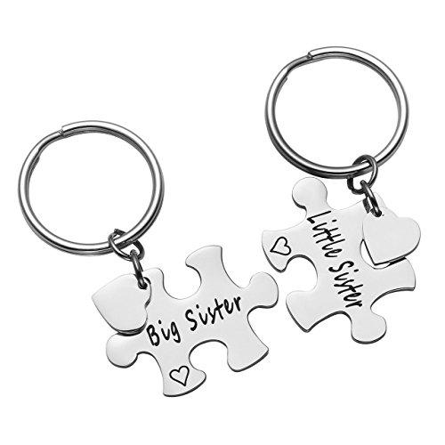 Zysta 2 Stück Schmuck Set BFF Freundschaft Schlüsselanhänger mit Gravur Puzzle Design aus Edelstahl Silber (Schwester Schmuck-sets)
