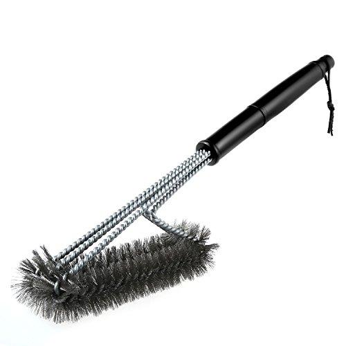 Foonii 3 Edelstahl Bürsten in 1 Reiniger Werkzeug, Professionelle Grillbürste für Weber, Infrarot, Gas, Porzellan und Holzkohlegrills - Extra langer Griff (45cm) (A)