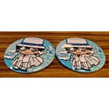 Two Conan Sega novelty cans badge Kaito KID Kid