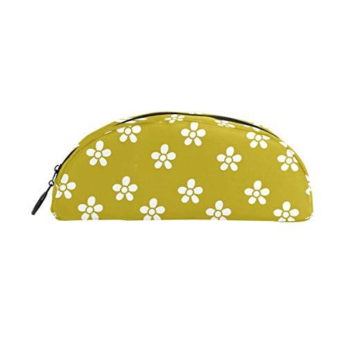 (Montoj Stifteetui, klein, weiße Blumen, gelber Hintergrund)