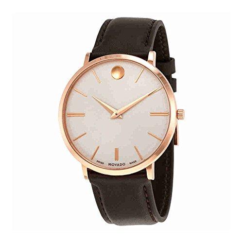 Movado Ultra Slim Silver Dial cuero Hombress Reloj 0607089 plata