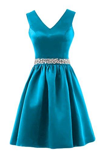 Charmant Damen Einfach Satin V-ausschnitt Abendkleider Ballkleider Brautjungfernkleider Pailletten Guertel Kurz Blau