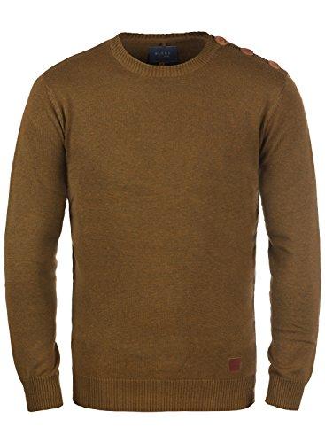 Blend Louis Herren Strickpullover Feinstrick Pullover Mit Rundhals Und Schulter-Knopfleiste, Größe:L, Farbe:Dark Mustard (75116)