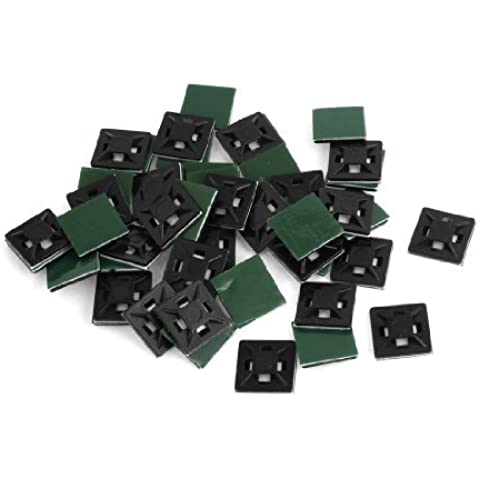 Water & Wood 20 x 20 x 4mm Black Plastic Self Adhesive Cable Tie Mount Base 50 Pcs