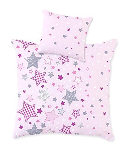 STERNE Baby Bettwäsche Set für Wiege / Kinderwagen / Stubenwagen ☆ STARS · 2 teilig · Kissenbezug 35x40 + Bettbezug 80x80 cm · zartrosa