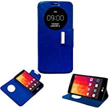Donkeyphone 599371031 - flip cover azul para lg magna h500f h502f g4c h525n funda con ventana, tapa, apertura libro, cierre con iman y soporte