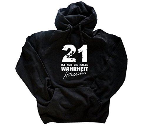 21 ist nur die halbe Wahrheit - Hitchhikers Kapuzen-Sweat-Shirt Schwarz XXL (Adams Sweatshirt)