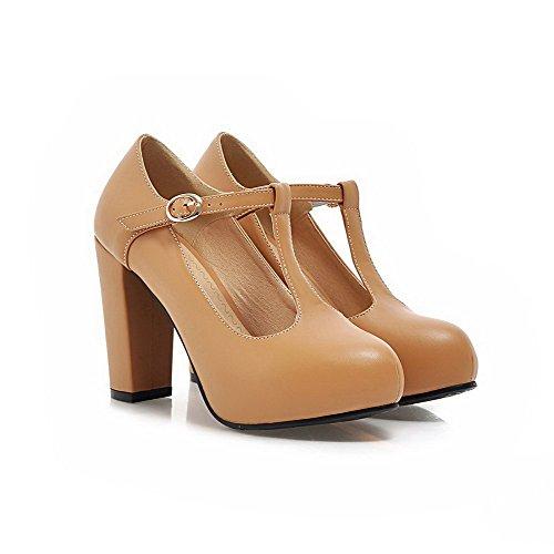 AgooLar Damen Pu Leder Hoher Absatz Rund Zehe Rein Schnalle Pumps Schuhe Aprikosen Farbe