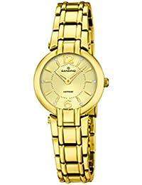 Candino reloj de cuarzo para mujer con oro esfera analógica pantalla y oro pulsera de acero inoxidable C4580/2