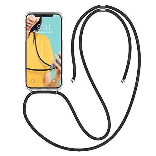 Winhoo Handykette Handyhülle mit Band Kompatibel mit iPhone X Hülle iPhone XS Hülle Silikon und Hard Transparent Durchsichtig Necklace Schutzhülle Kratzfest Handyanhänger - Schwarz Hard Silikon