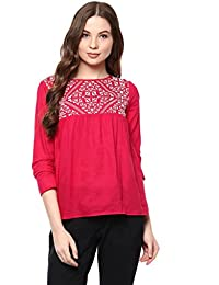 aed37393053e2 THE VANCA Rayon Fuchsia Color top with Embroidered Yoke