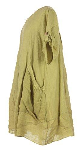 """Damen Womens italienischen Lagenlook schrulligen Kurzarm Falte Bedienfeld """"Details"""" Saum 2 Pocket Plain Leinen Tunika One Größe UK 12-18 Lime Grün"""