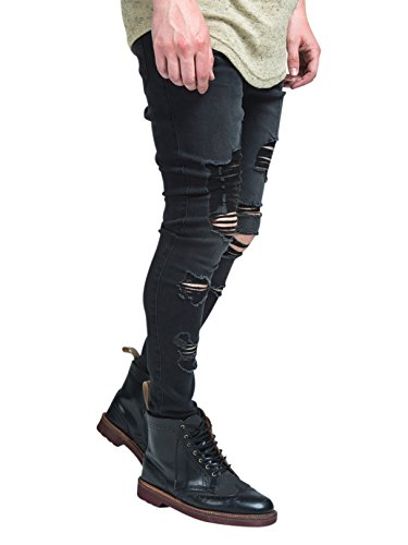 Sik Silk Homme Bord Raw Crop Crotch Ripped Jeans, Gris Gris