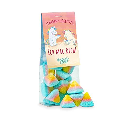 Einhorn-Leckerlies, Ich mag dich! Süße Fruchtgummi-Pyramiden in Regenbogenfarben mit leckerem Ananas Geschmack, süßes Mitbringsel für alle Menschen, die man gerne hat