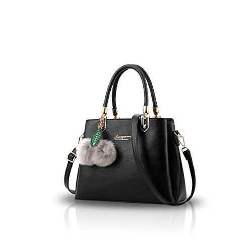 NICOLE&DORIS Le donne della borsa di modo del messaggero di Crossbody della spalla della borsa del Tote PU Bauletto Rosa Nero