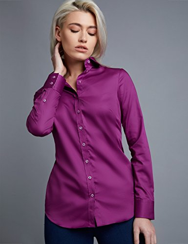 HAWES & CURTIS Bluse – Regular Fit – Baumwolle – Pflaume mit Kontrastdetails, Pflaume, 46 (UK 20) (Bluse Rüschen Knopf-manschette -)