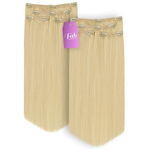 FAB Remy 100% Echthaar Hair Lace Tresse Clip In Full Head Hair Extensions Twin Pack, Nr. 60–Platinum Blonde X