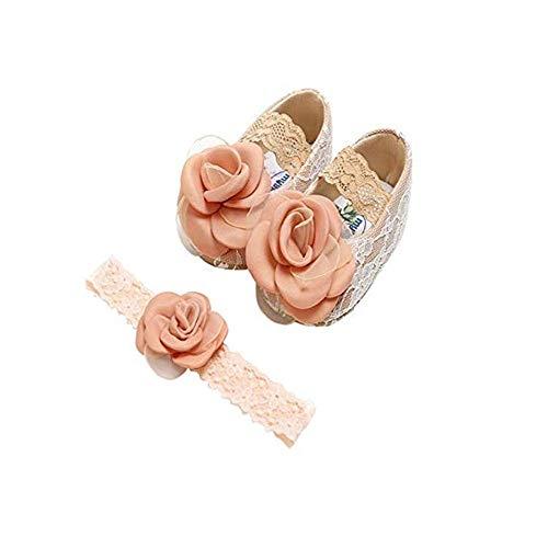 2 Pcs Baby Mädchen Schuh Anti-Rutsch-weiche Sohle Kleinkind Schuhe+ Stirnband (0~6 Month, Rosé Gold) ()