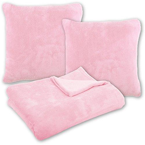 Bestlivings Kuscheldecke Tagesdecke Wohndecke mit Kissen in vielen Farben 210x280cm + 2X Kissenbezug Kissen 60x60cm (Farbe: rosa - Hellrosa ohne Kissenfüllung)