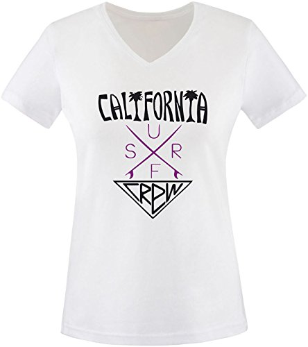 EZYshirt® California Surf Crew Damen V-Neck T-Shirt Weiss/Schwarz/Violett