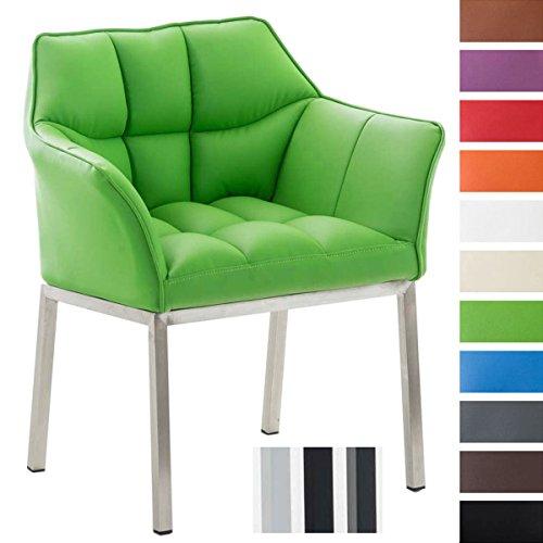 Clp poltroncina lounge octavia in similpelle | sedia salotto imbottita sedia soggiorno design telaio 4 gambe, base in acciaio alt.seduta 49 cm verde colore piedistallo: acciaio inox