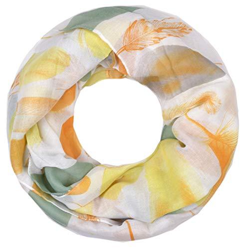 Damen Schlauchschal leichtes Halstuch Frühling Blätter Federn Weiß Grün Orange Gelb ()