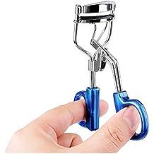 tinxi® Rizador de pestañas clásico 3D de acero inoxidable con almohadillas de silicona de calidad profesional se encrespa con silicona azul