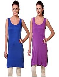 TeeMoods Women's Cotton Chemise/Long Slip/Suit Slip Nighty-Pack of Two/Three -Purple, Blue-Small
