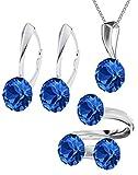 Crystals & Stones - XIRIUS - GROSS Schmuck-Set - Farbe Varianten !! - Silber 925 Schön Damen Schmuckset mit Kristallen von Swarovski Elements - Schmuckset mit Geschenkbox PIN/75 (Sapphire)