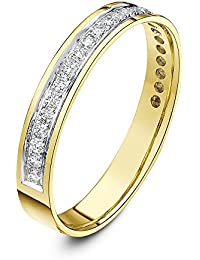 Theia 9 ct Yellow Gold, Flat Court Shape, 0.25 Carat Round Diamond Pave Set 3.5 mm Eternity Ring