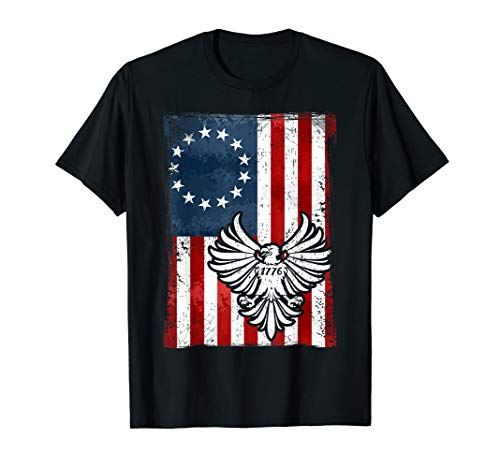 Distressed Betsy Ross Flag Bald Eagle 1776 T-Shirt -