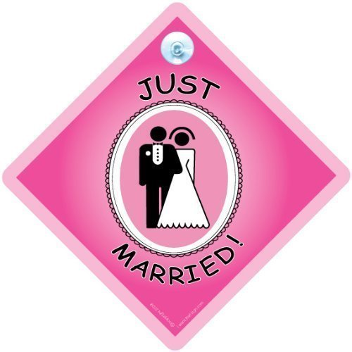 Just Married Sign. Just Married Panneau de voiture, panneau de contemporain, Jeunes, s'adaptent Married Panneau, Baby on Board Sign Style, autocollant, autocollant, Baby on Board, cadeau de mariage, Bride to Be, Just Wed, mariage,