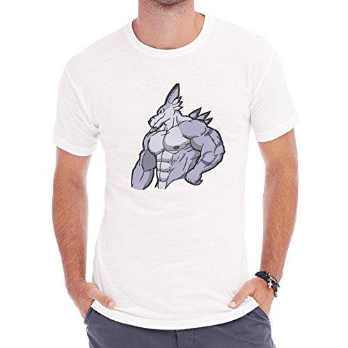 Digimon Garurumon Wolf Gabumon Strong Abs Herren T-Shirt Weiß