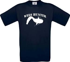 T-Shirt Angeln Fischen Fischer Wels Hunter Kultstyle, Farbe blau, Größe S